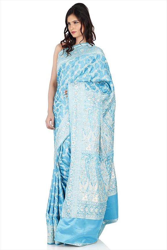 Turquoise Blue Satin Banarasi Saree