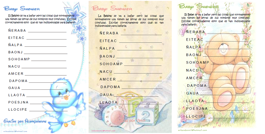 enlacedosmil: Juegos Imprimibles Baby Shower