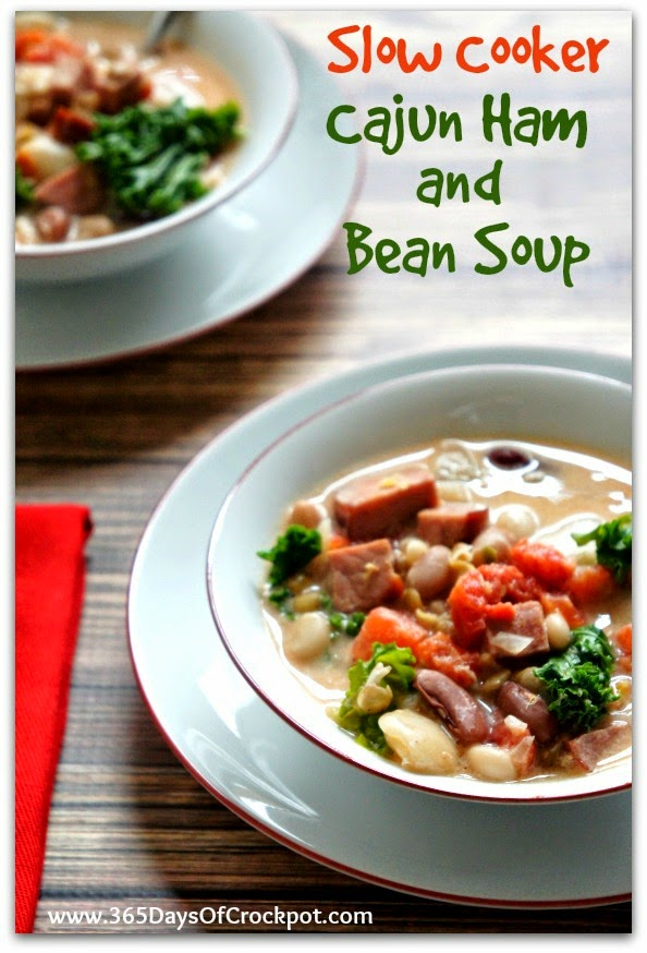 Recipe for CrockPot Cajun Ham and 15 Bean Soup #easydinner #crockpotrecipe #slowcooker #beans
