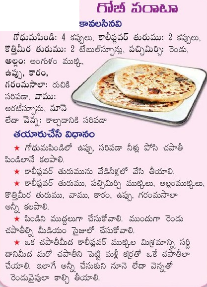 Healthy food recipes gobi parantha recipe in telugu gobi parantha recipe in telugu forumfinder Choice Image
