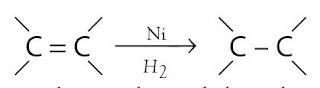 ikatan rangkap dua karbon (C=C) dalam lemak takjenuh diubah menjadi ikatan tunggal