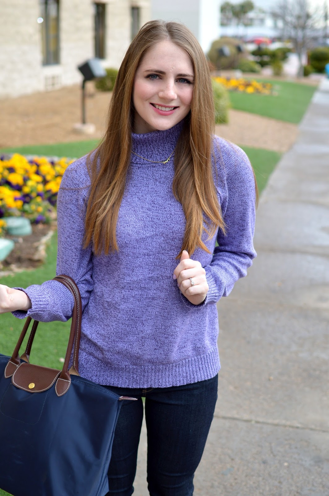 what to wear with a pruple turtleneck sweater