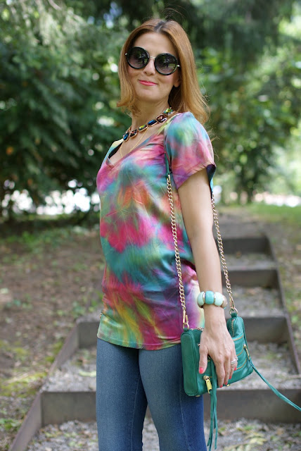 Hippie style, tie dye blouse, Rebecca Minkoff zipper bag, Fashion and Cookies