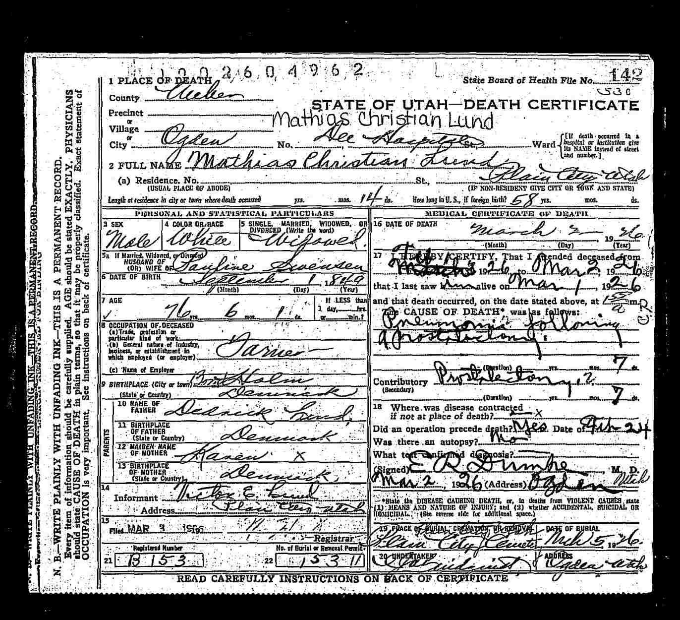 Lundology Mathias Christian Lund Death Certificate