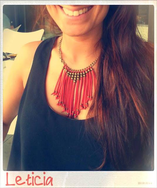 happy uky collar antelina rojo tribal moda dorado