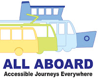 All Aboard Logo with images of bus, train, tram and ferry. Text says All Aboard - Accessible Journeys Everywhere