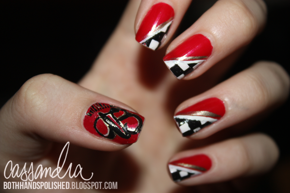 Budweiser (Shootout) Nails - Both Hands Polished: Budweiser (Shootout) Nails  -. Nascar Nail Art Graham ... - Nascar Nail Art Graham Reid