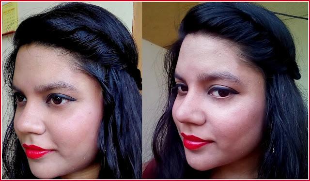 Blue Heaven Follow Me Lipstick R001-Sensual Red on face