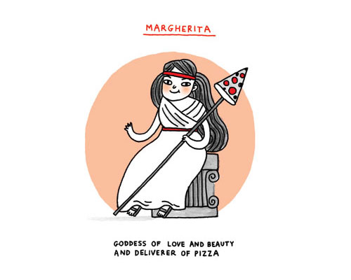 Margherita: Goddess of love and beauty and deliverer of pizza (cartoon by gemma correll)