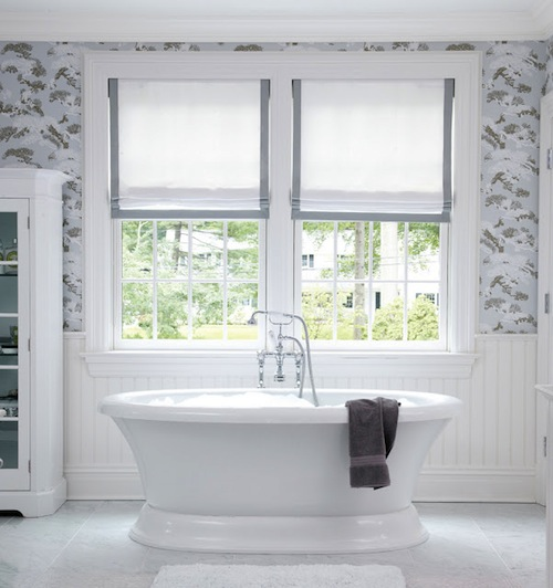 At home the freestanding tub hamptons style for Decorative windows for bathrooms