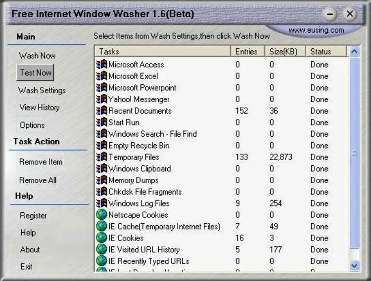 تنظيف الكمبيوتر من الملفات المؤقته و الكوكيز Internet Window Washer