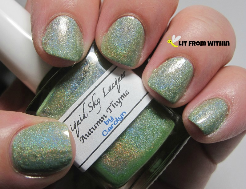 Liquid Sky Lacquer Autumn Thyme, a gorgeous light sage green holo