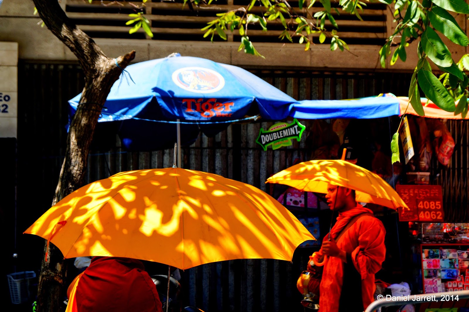 Yellow umbrellas, Phnom Penh, Cambodia