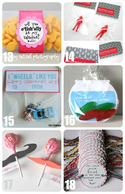 Goldfish, Parachute Men, Matchbox Car, Swedish Fish, Mustache and Friendship Bracelet Valentines for Kids Collage
