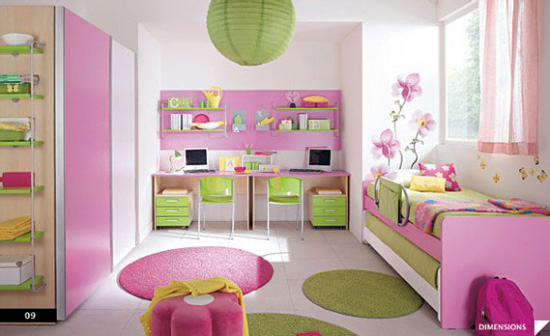 Desain Interior Kamar Anak Feminine Nuansa Pink Hijau - Girl Bedroom