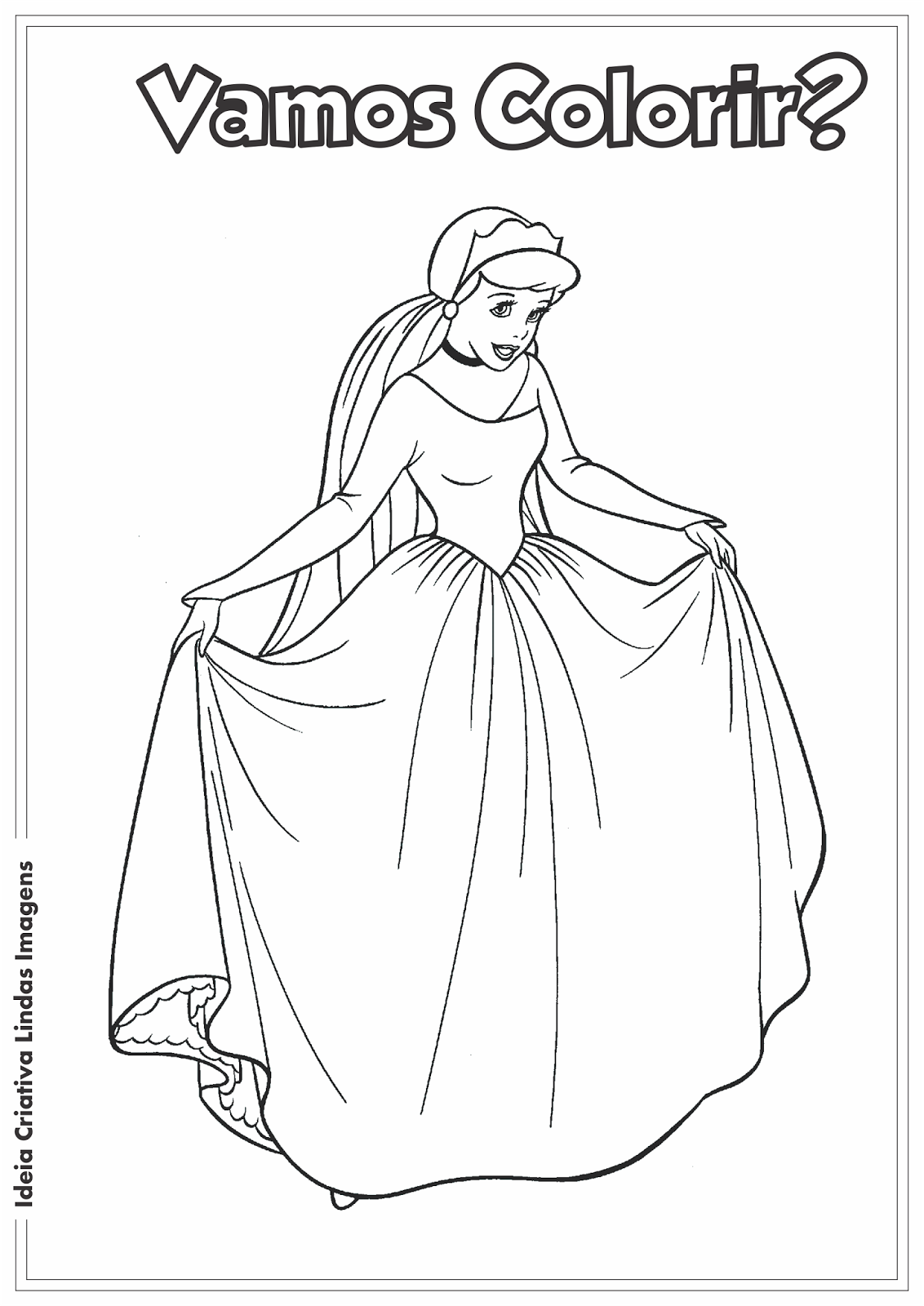 Cinderela desenho pra colorir