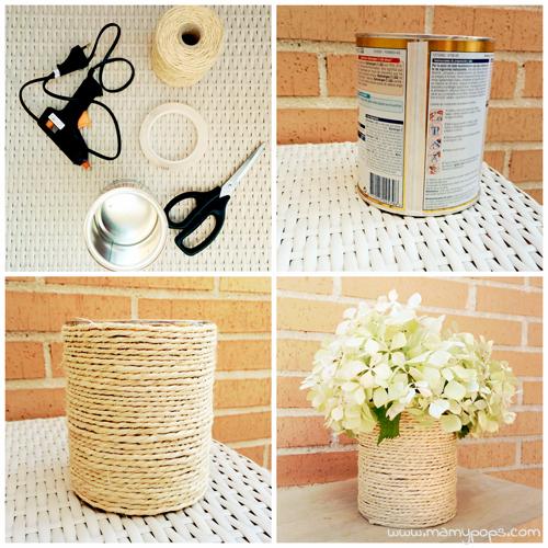 florero de lata y cuerda DIY