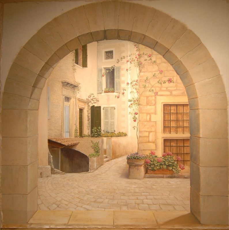 Interiors etc details french lessons - Trompe loeil hoofd bed ...