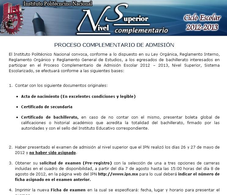 Admision Escolar: Fechas Convocatoria Segunda Vuelta IPN 2012 Nivel Superior