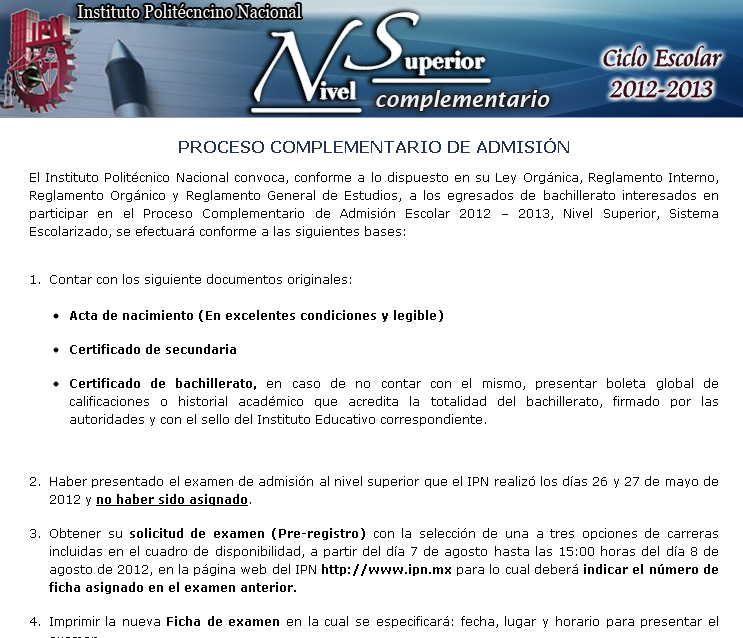 Fechas Convocatoria Segunda Vuelta NIvel Superior IPN 2012