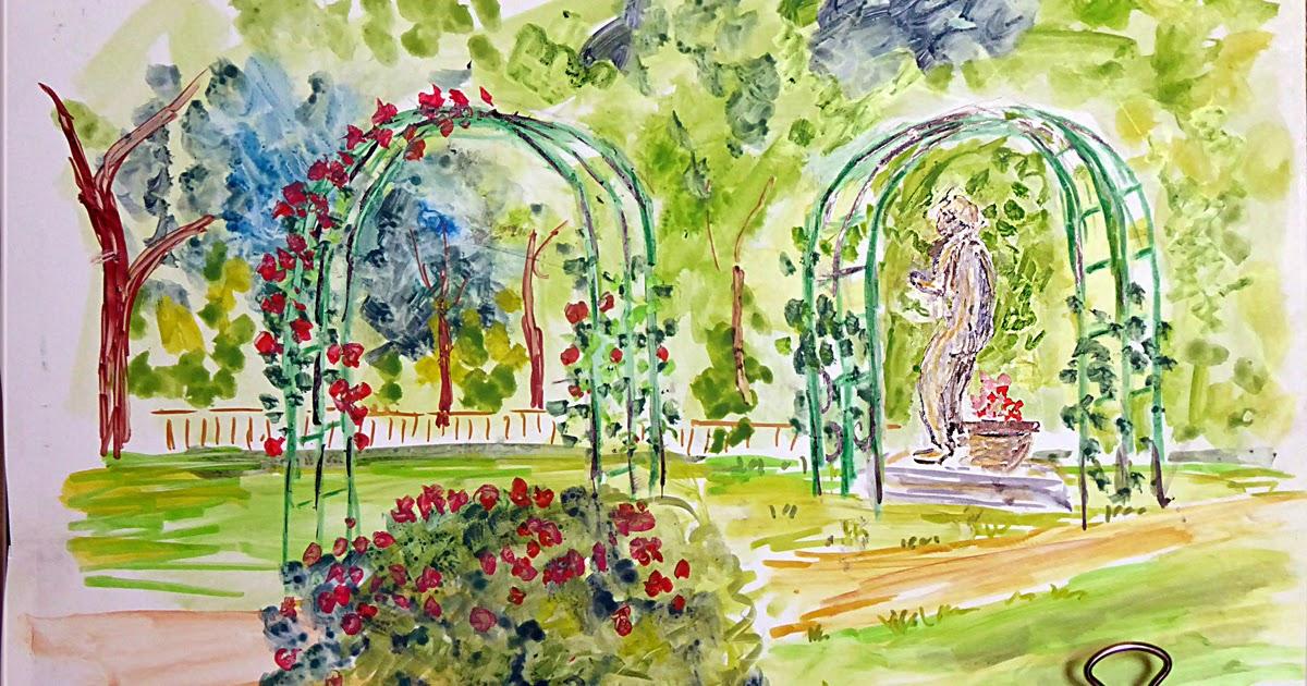 Art de vivre la peinture de peintrefiguratif croquis au for Croquis jardin