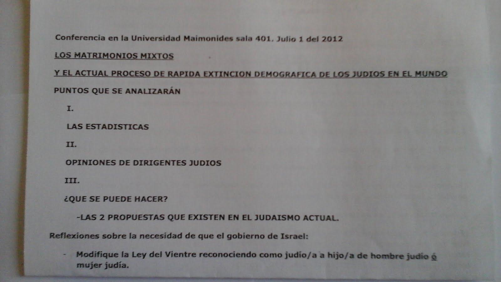 55 - Conferencia en la Universidad Maimonides, Argentina,1/7/2012. Sobre matrimonios mixtos y el