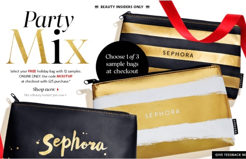 Sephora Party Mix Free Holiday Bag With 12 Samples Promo Code