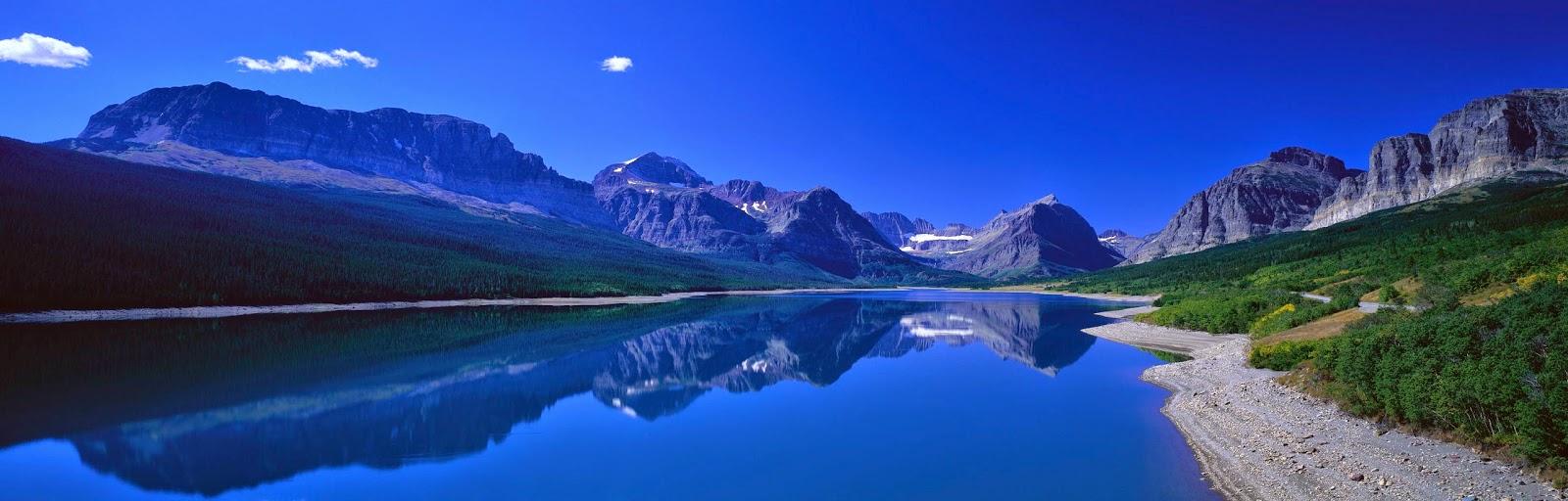 Lake squeezed mountains free hd desktop wallpaper