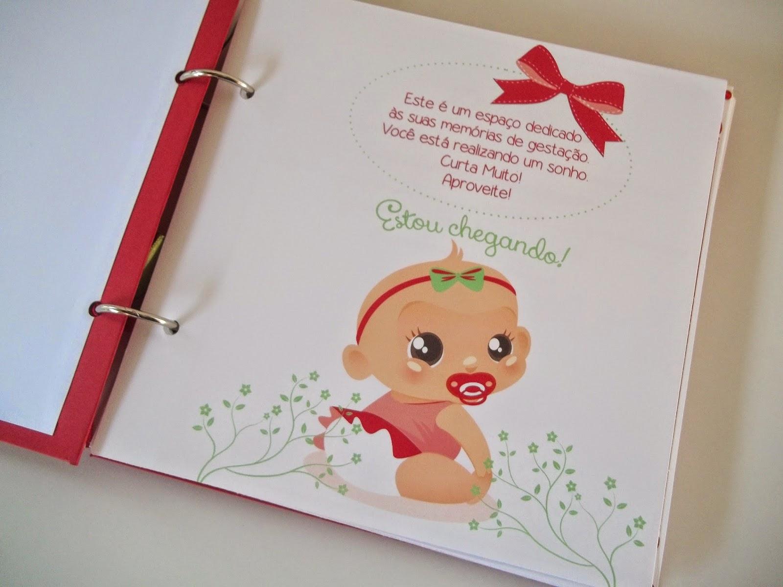 Diário da gravidez, diário da gestante, álbum gravidez scrapbook, diário gravidez joaninha
