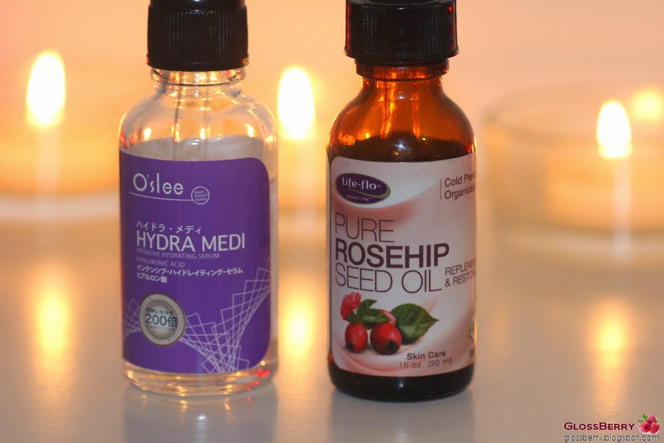 pure rosehip oil, o'slee hydra medi