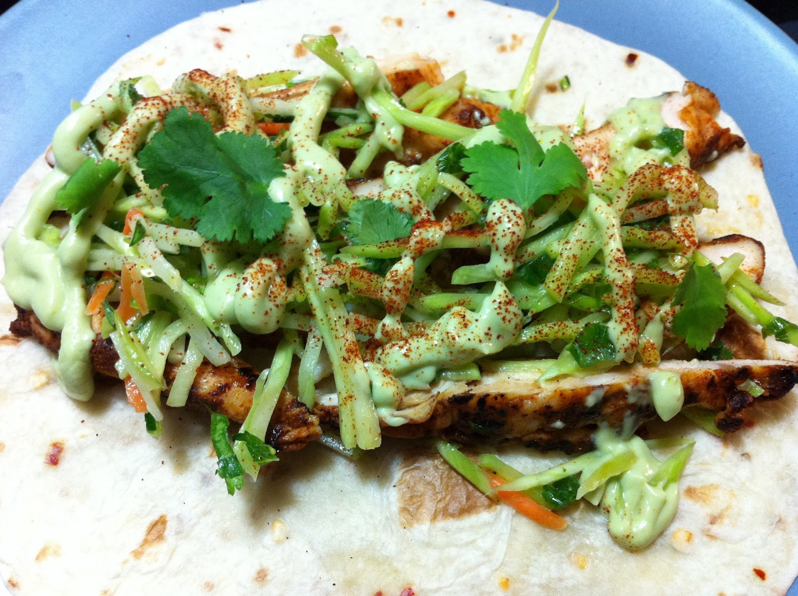 ... with SAHD: Ancho Chicken Tacos with Cilantro Slaw and Avocado Cream