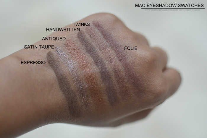 MAC Eyeshadow swatches darker Indian skin tone nc45 must have best neutral makeup beauty blog espresso satin taupe antiqued handwritten twinks folie