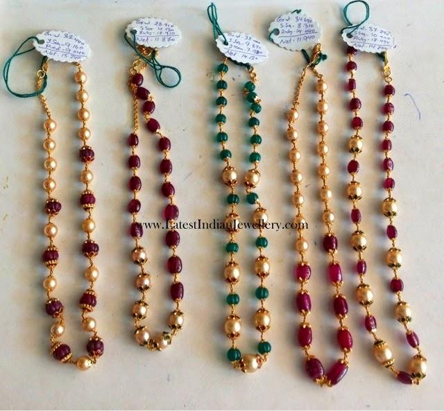 Single Line Beads: Pearl And Ruby Taar Mala