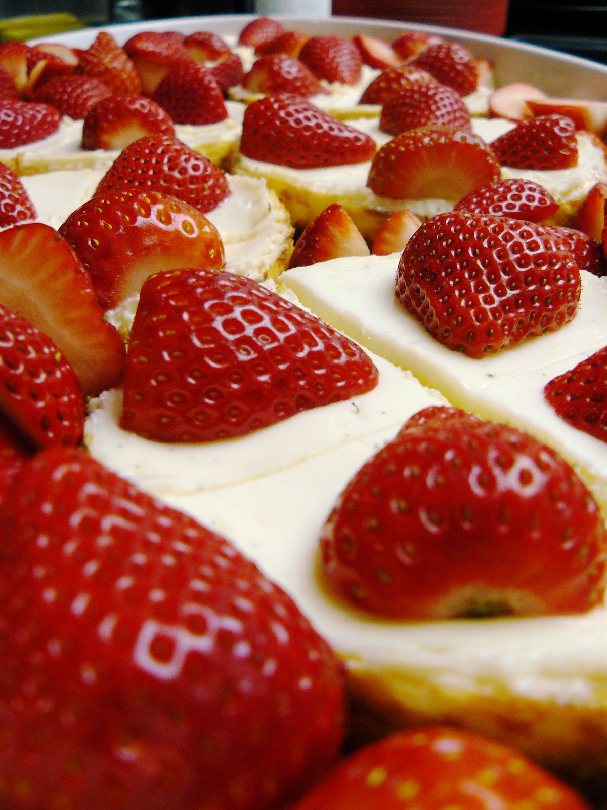 little dog lost: Vanilla bean mini-cheesecakes with strawberries