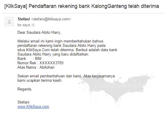 Pemberitahuan Diterimanya Rekening Bank
