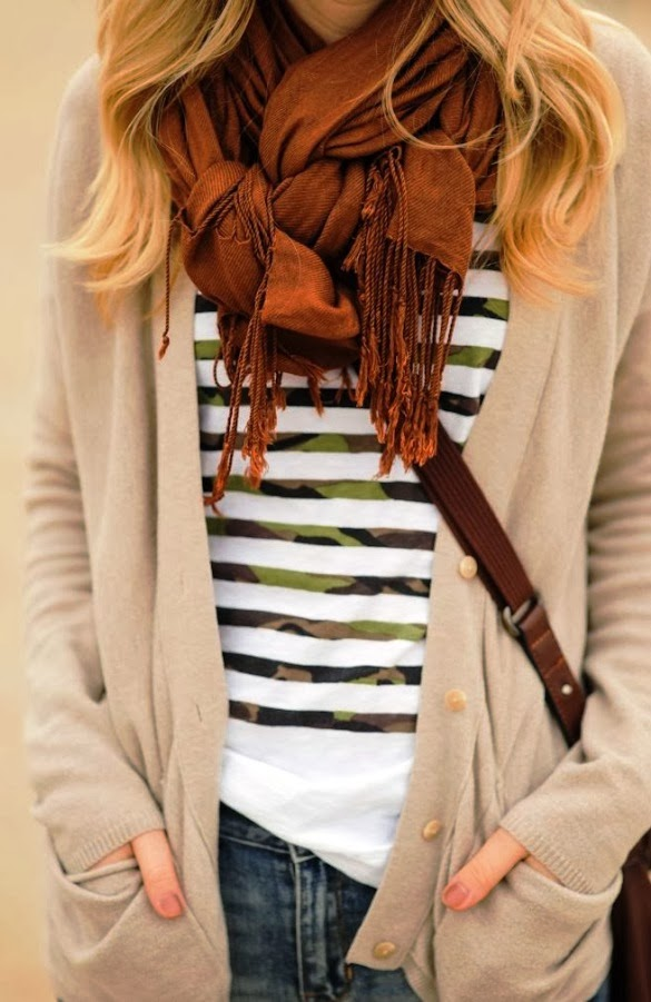 Unique way of scarf tie, stripes and cute cardigan with pocket