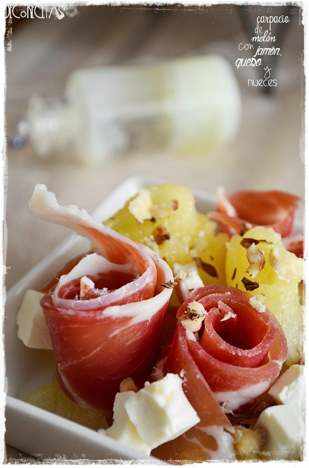 carpacio de melón con queso, nueces, y  jamón