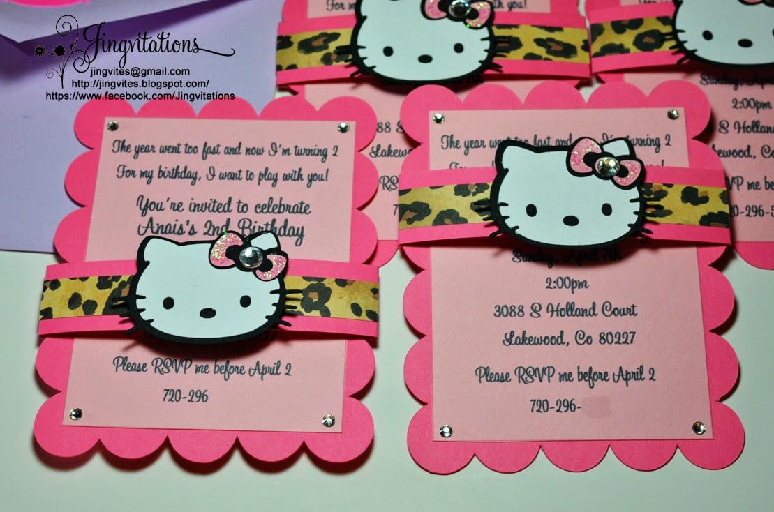 Jingvitations Hello Kitty Cheetah Leopard Baby Shower Birthday – Cheetah Birthday Invitations