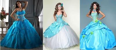 vestidos de 15 años celestes