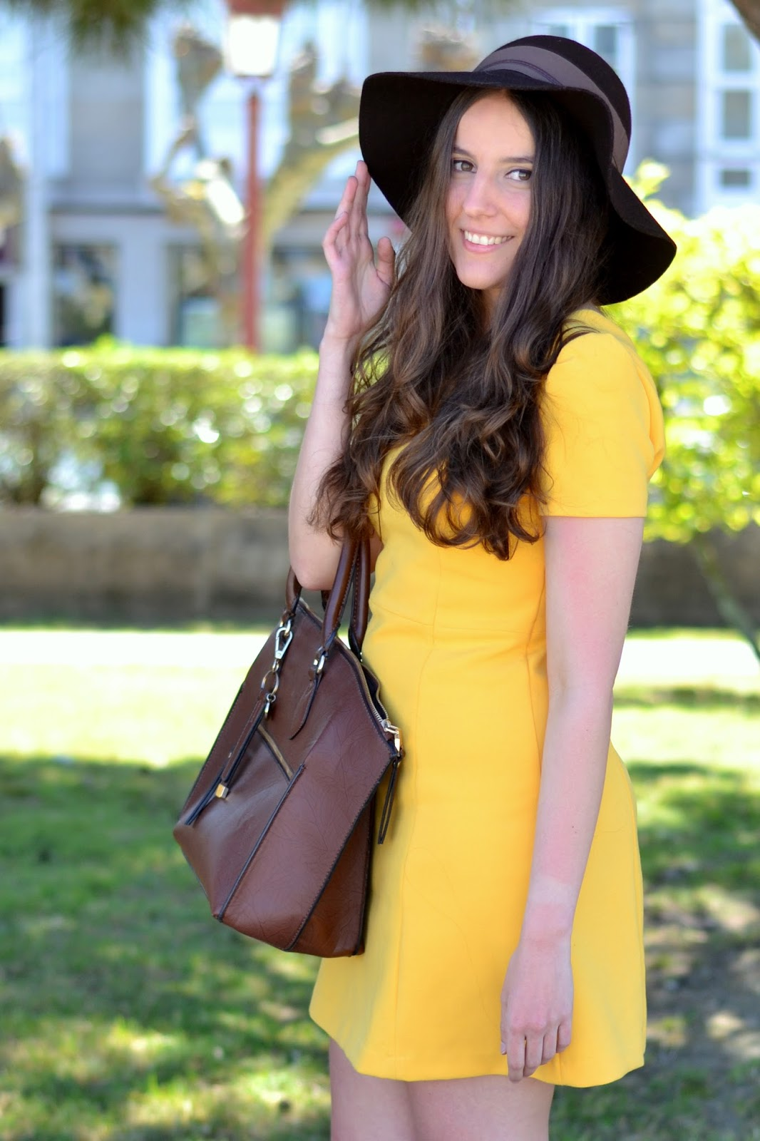 zara yellow dress, parfois brown hat and bag