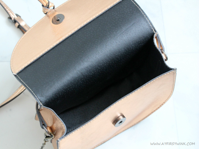 Metallic bronze bag from Mango