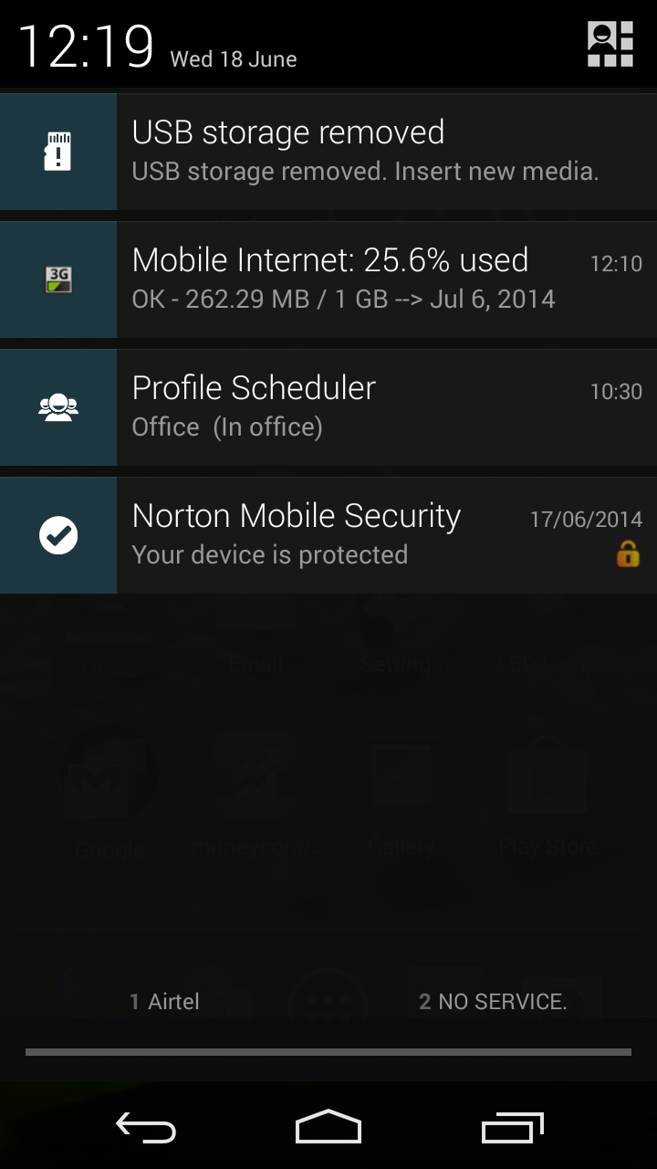 Moto G USB OTG sticky notification