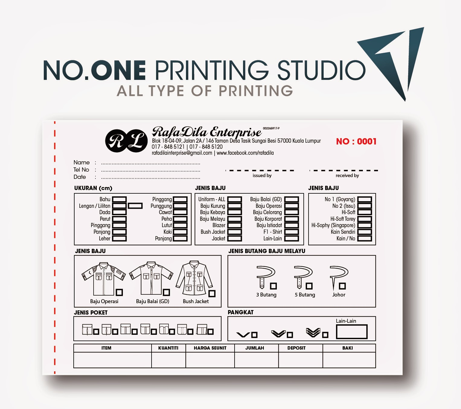 no one printing studio business deal promosi untuk bill book sample bill book for kedai jahit rafadila ent