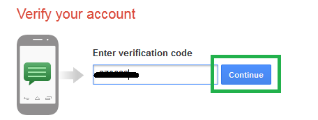 Form memasukan kode verifikasi