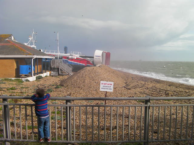 hovercraft taking off from southsea beach