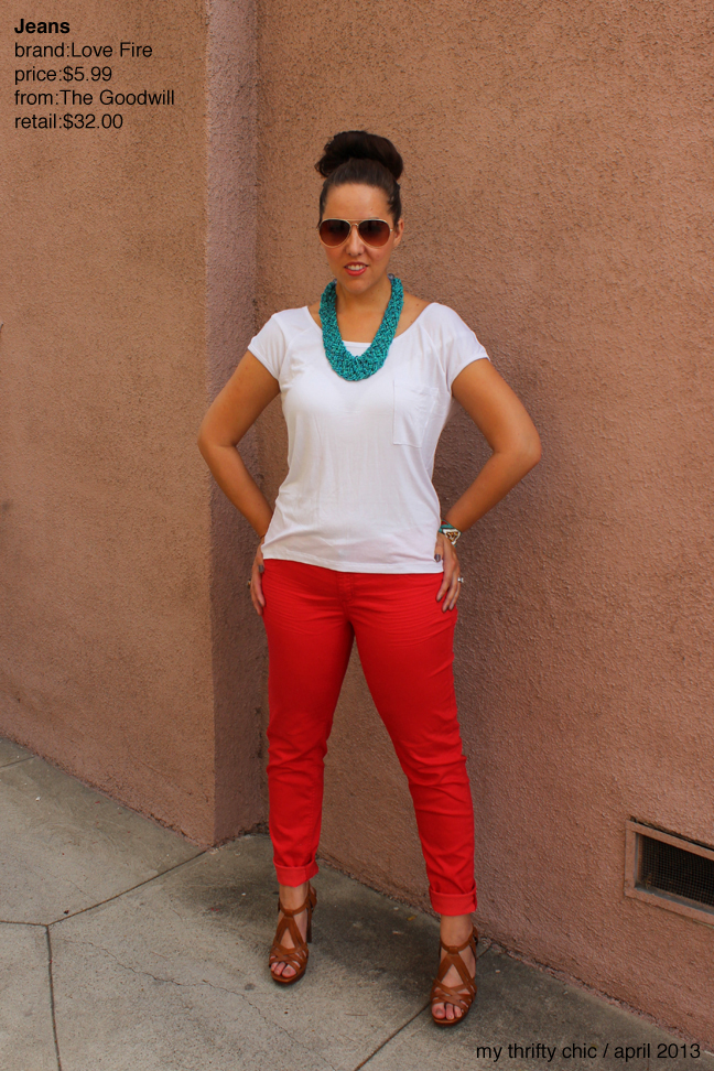 my thrifty chic: Bright. Red. Pants.