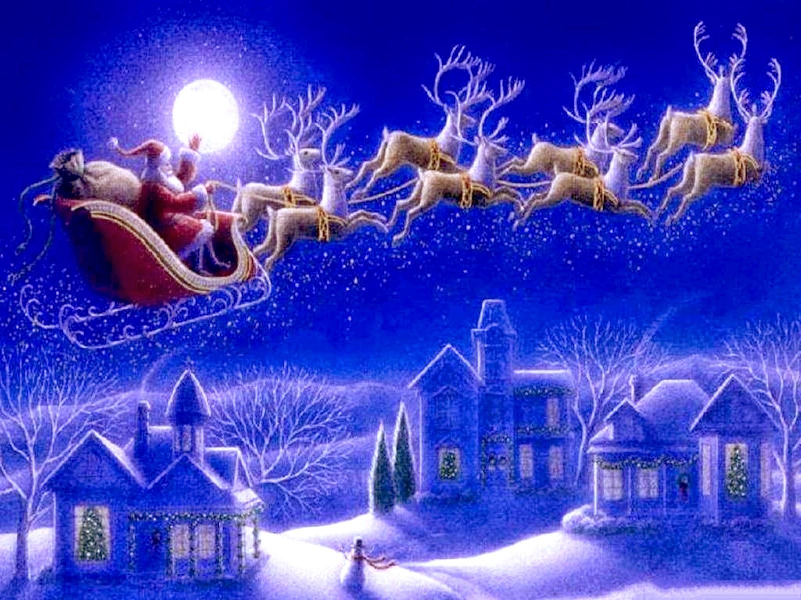 santa claus y renos en la nieve