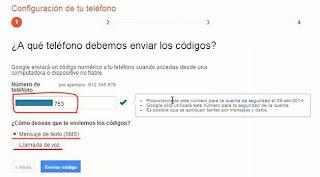 configurar telefono para verificacion codigo Google