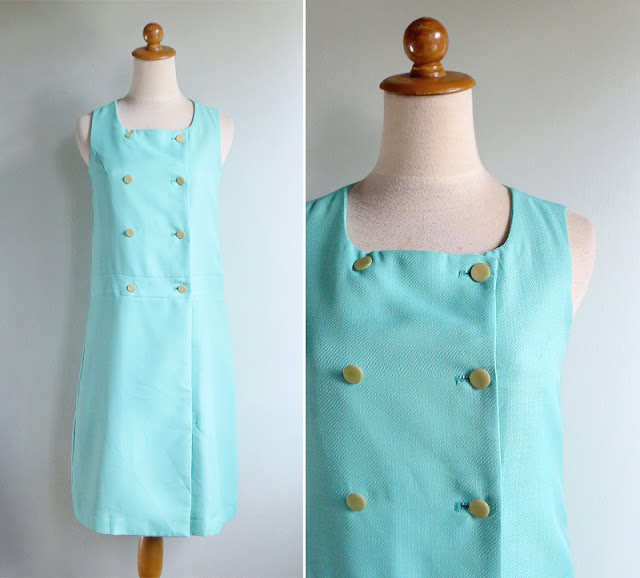vintage 60's aqua mint green shift dress