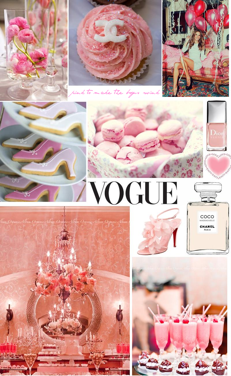 Pink inspiration board for hen night or bridal shower for Bridal shower kitchen tea ideas fashion
